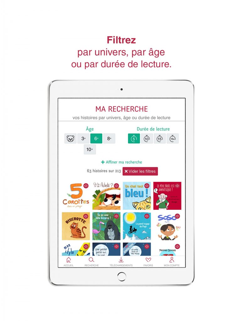 Avec l'application Whisperies, filtrez votre recherche par âge, univers et durée de lecture.