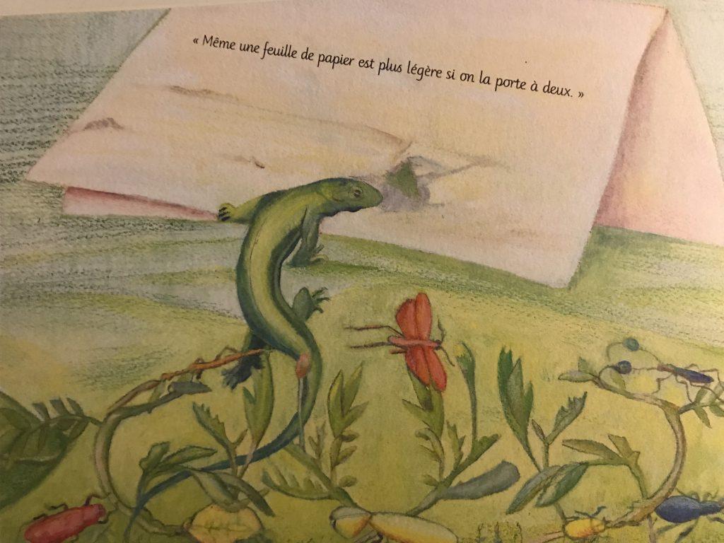 """Une illustration du livre avec une citation """"Même une feuille de papier est lus légère si on la porte à deux."""""""