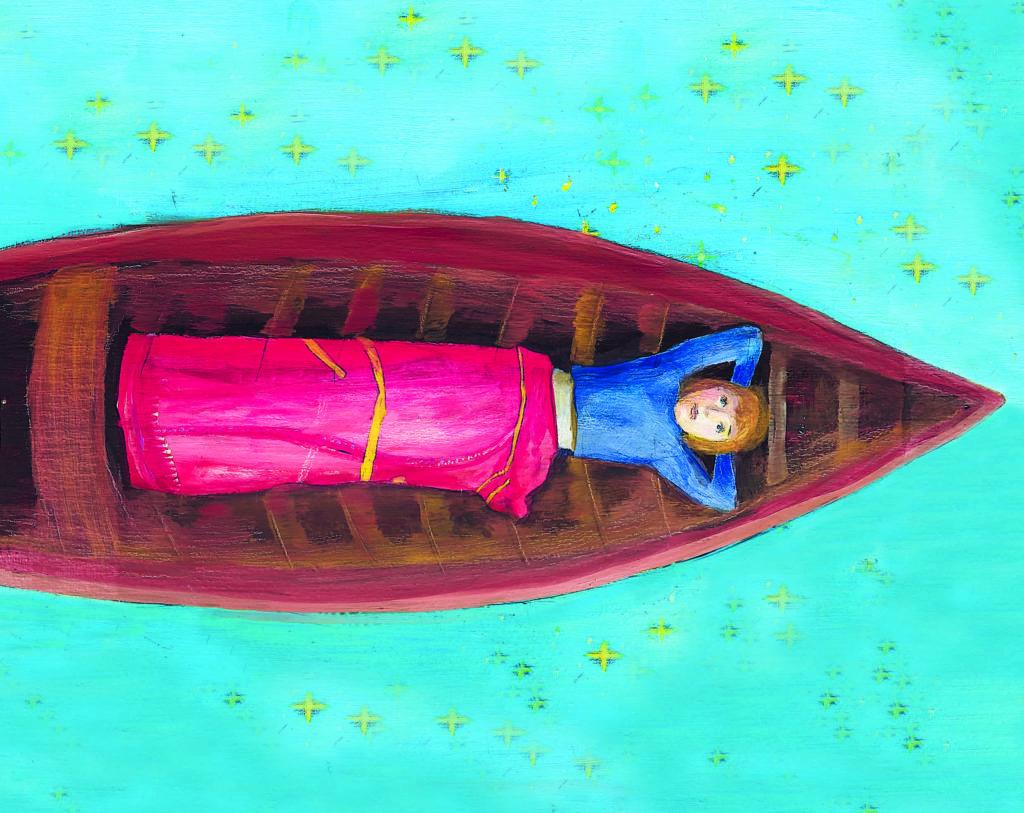 Illustration la petite fille qui regarde les étoiles.