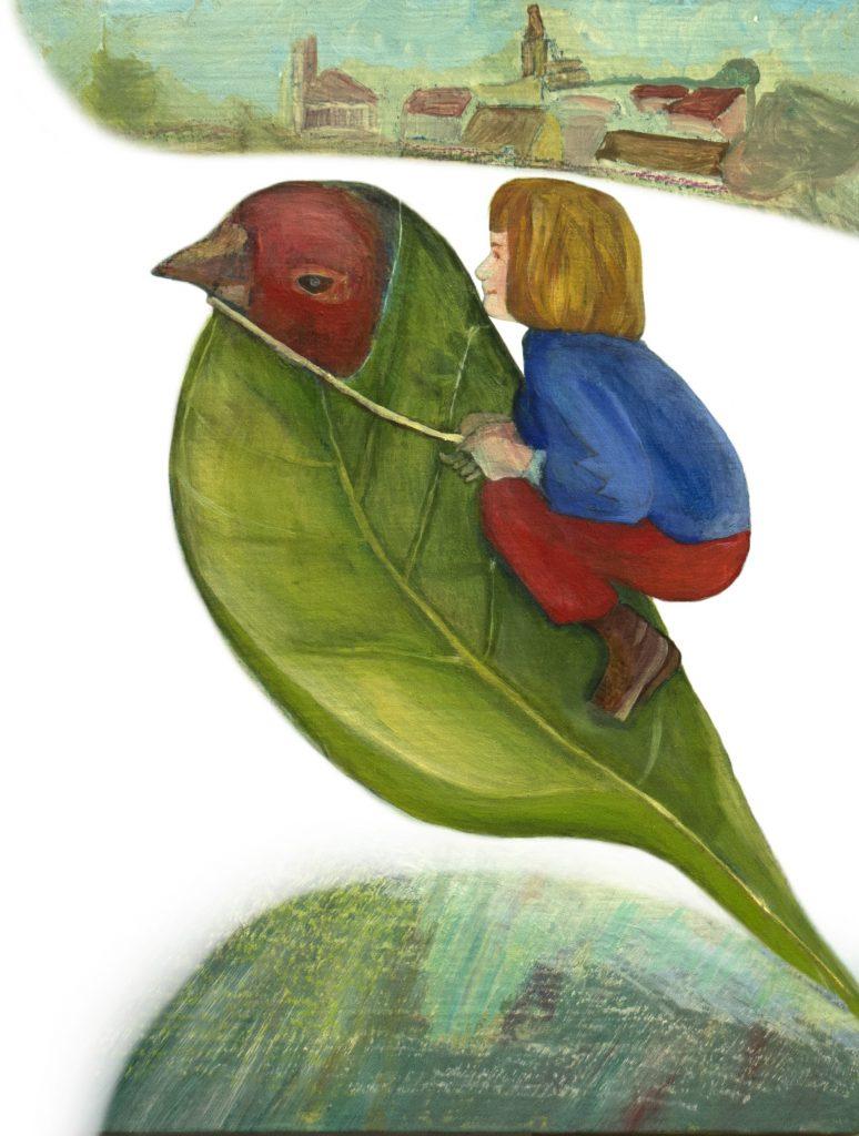 La petite fille sur l'oiseau, une des images du livre.